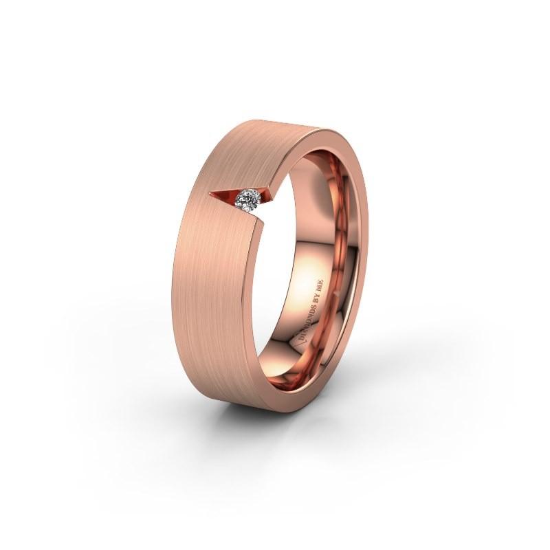 Trouwring WH2023L 375 rosé goud diamant ±6x2 mm