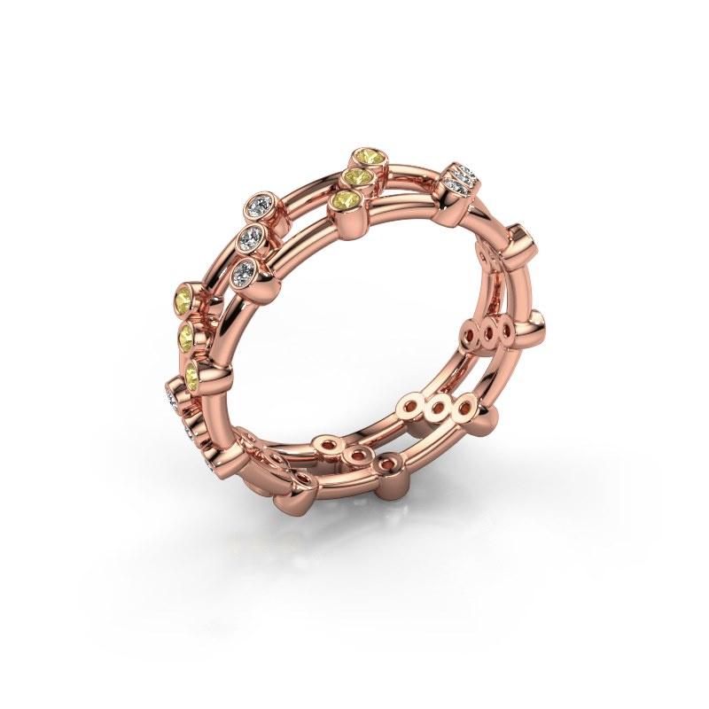 Bague Floortje 585 or rose diamant 0.18 crt