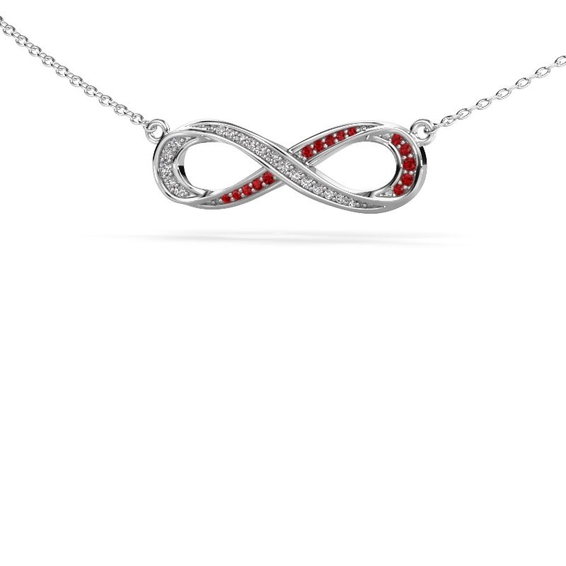 Necklace Infinity 2 925 silver ruby 0.8 mm