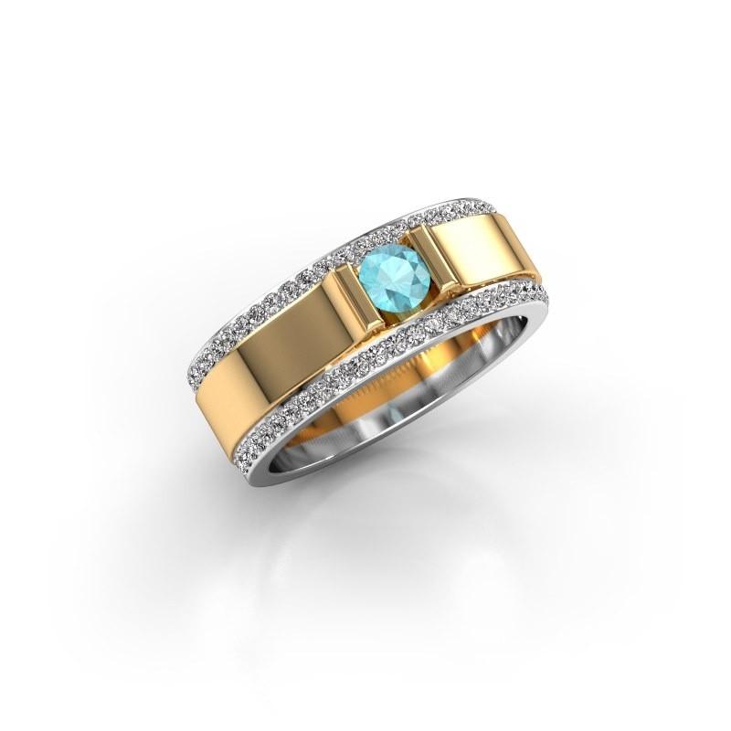 Men's ring Danillo 585 gold blue topaz 4.2 mm