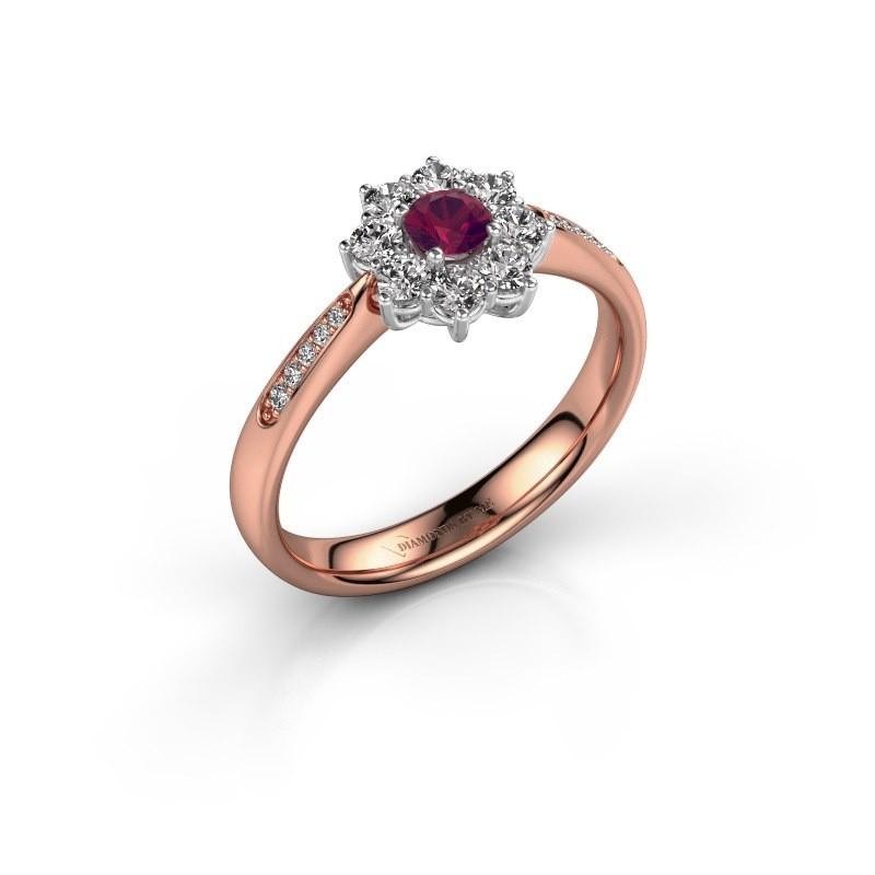 Verlovingsring Carolyn 2 585 rosé goud rhodoliet 3.4 mm
