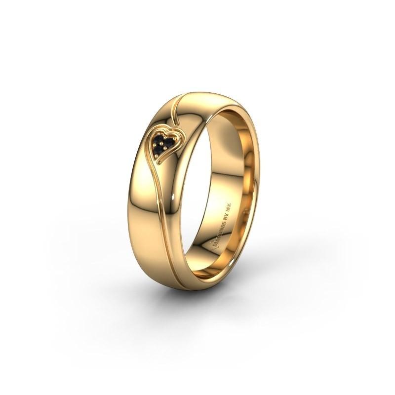Trouwring WH0168L36AP 375 goud zwarte diamant ±6x1.7 mm