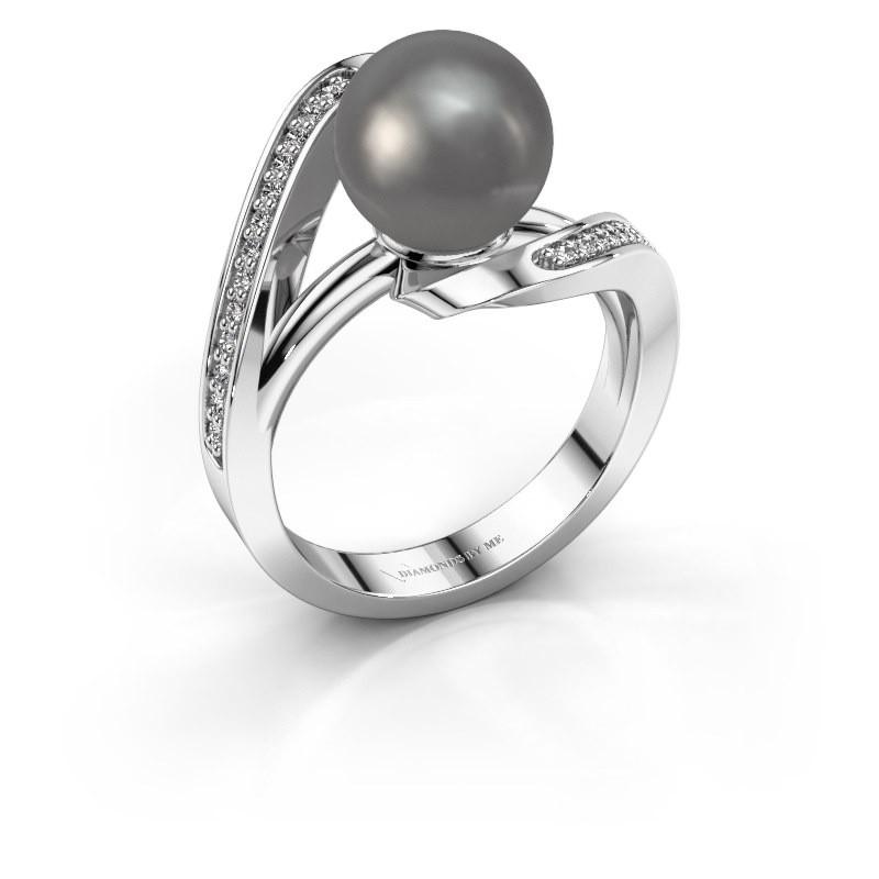 Ring Amber 585 witgoud grijze parel 9 mm