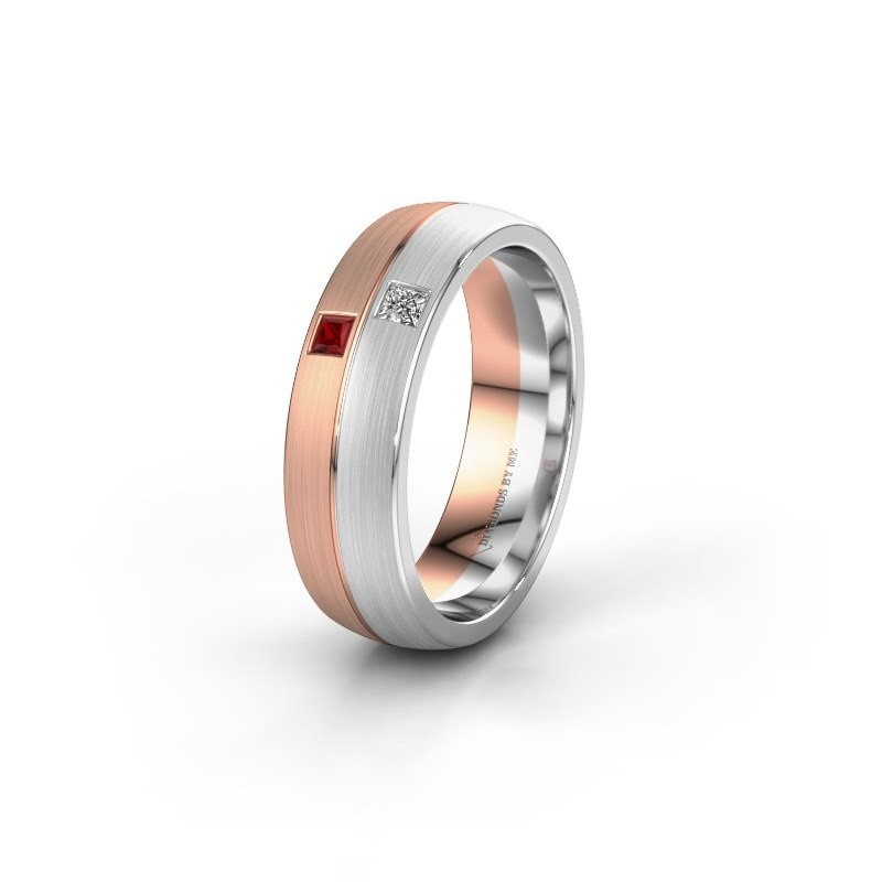 Wedding ring WH0250L26BM 585 rose gold ruby ±0.24x0.08 in