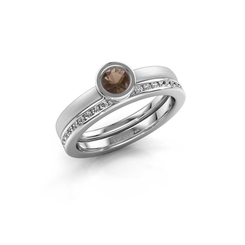 Ring Cara 585 white gold smokey quartz 4 mm