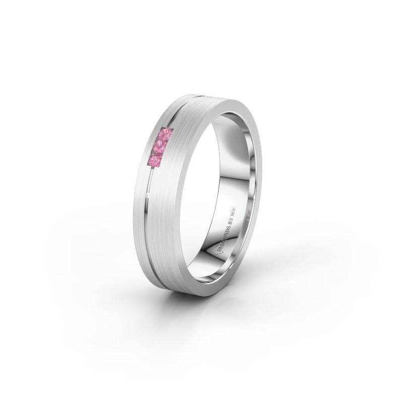 Trouwring WH0156L14X 375 witgoud roze saffier ±4,5x1.4 mm