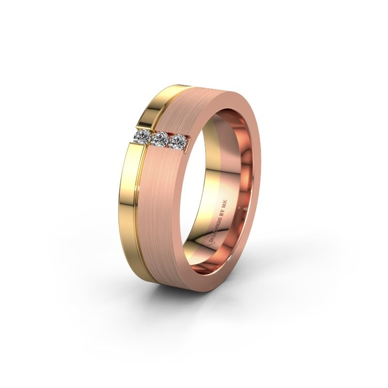 Wedding ring WH0327L16B 585 rose gold zirconia ±6x2 mm