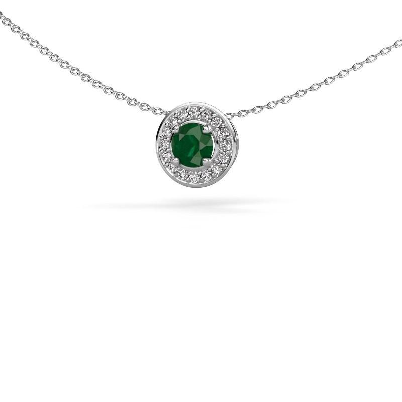 Hanger Agaat 585 witgoud smaragd 5 mm