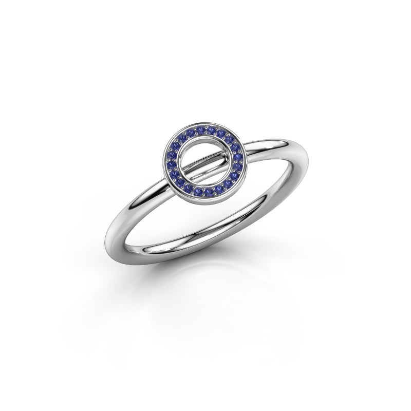 Ring Shape round small 375 witgoud saffier 0.8 mm