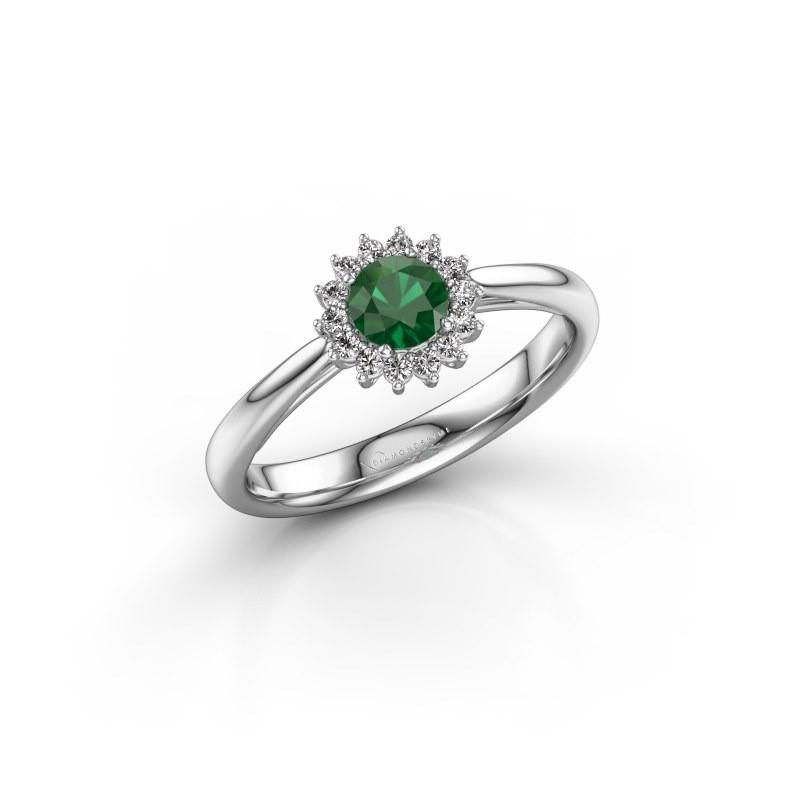Verlovingsring Mariska 1 585 witgoud smaragd 4.2 mm