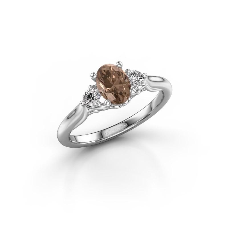 Verlovingsring Laurian OVL 950 platina bruine diamant 1.00 crt