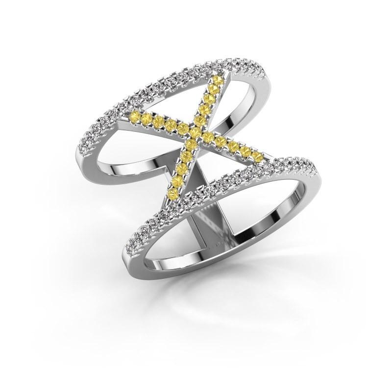 Ring Sharri 2 585 witgoud gele saffier 1.1 mm