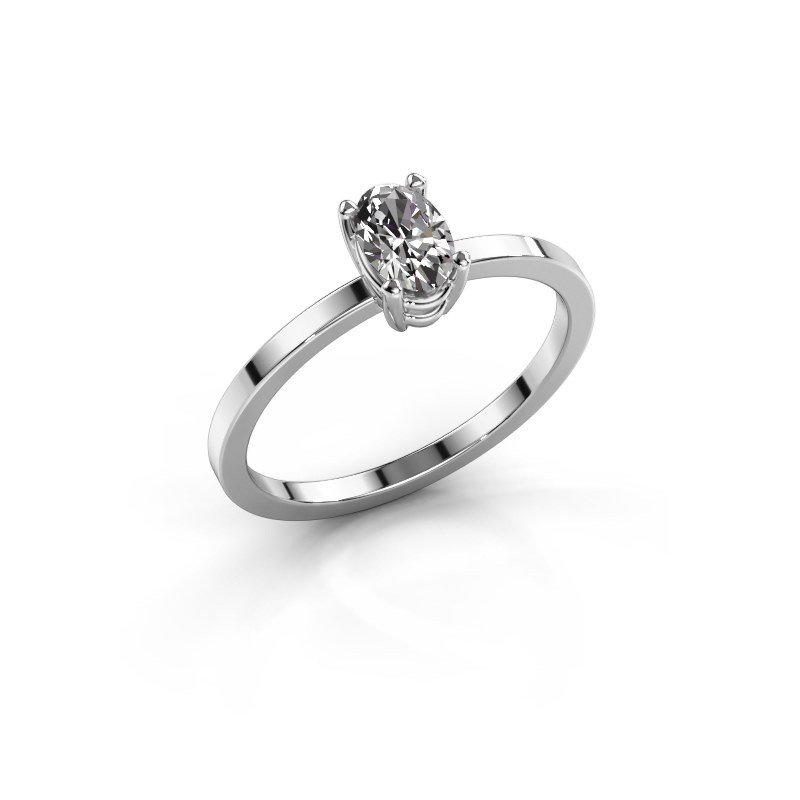 Ring Lynelle 1 585 witgoud zirkonia 6x4 mm