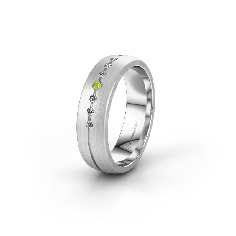 Wedding ring WH0162L25A 950 platinum peridot ±0.22x0.07 in
