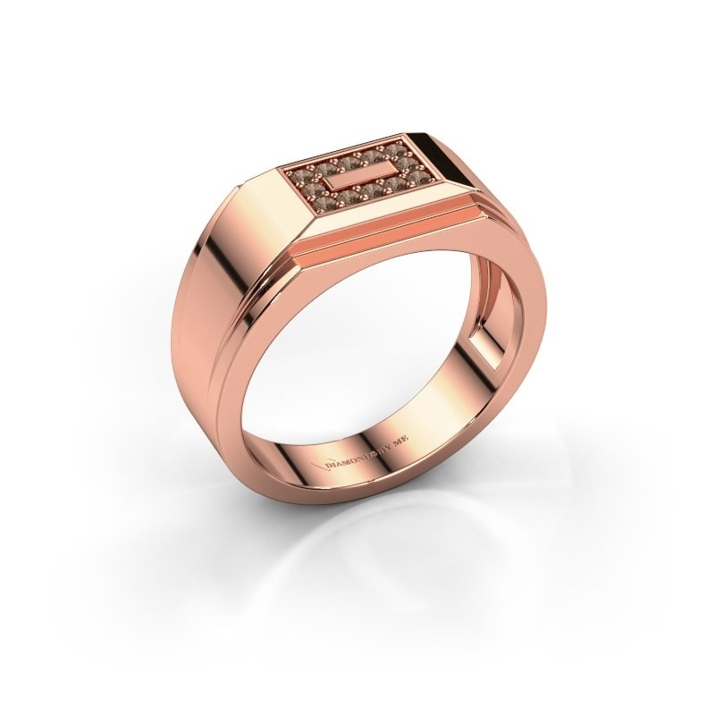 Men's ring Roan 375 rose gold brown diamond 0.18 crt