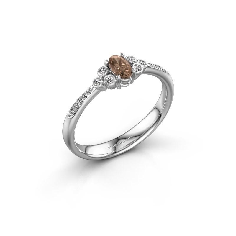 Bague de fiançailles Lucy 2 585 or blanc diamant brun 0.969 crt