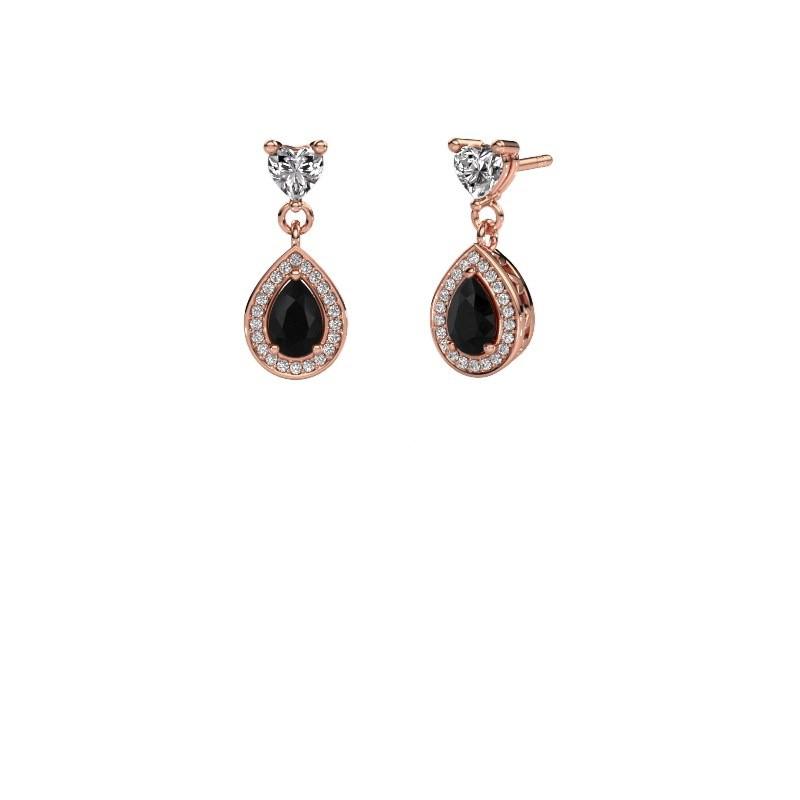 Drop earrings Susannah 375 rose gold black diamond 1.69 crt