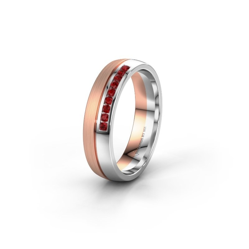 Wedding ring WH0209L25APM 585 rose gold ruby ±0.20x0.07 in