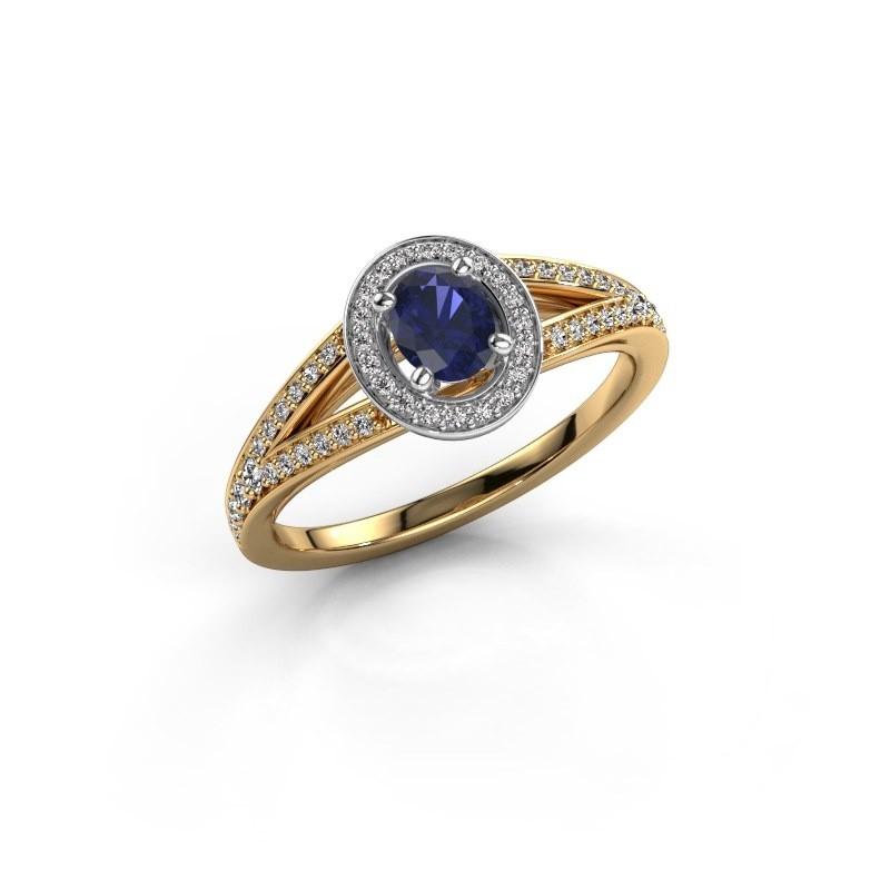 Verlovings ring Angelita OVL 585 goud saffier 6x4 mm