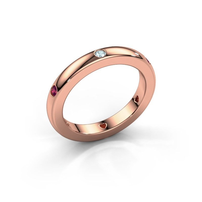 Stackable ring Charla 375 rose gold aquamarine 2 mm