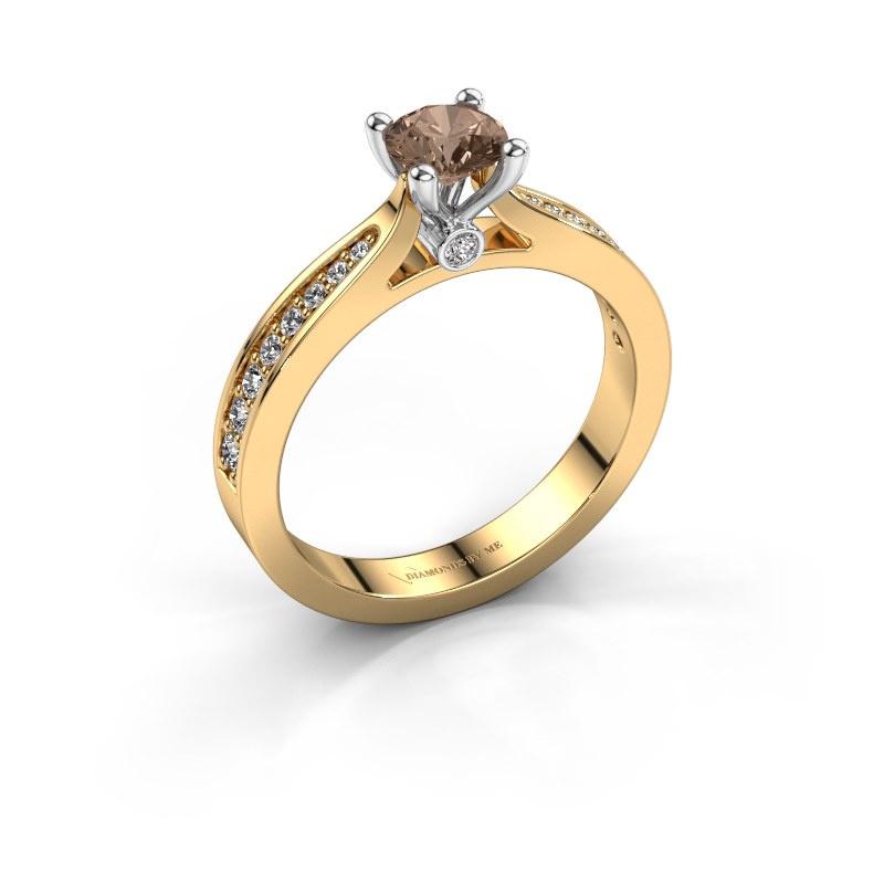 Engagement ring Evelien 585 gold brown diamond 0.70 crt