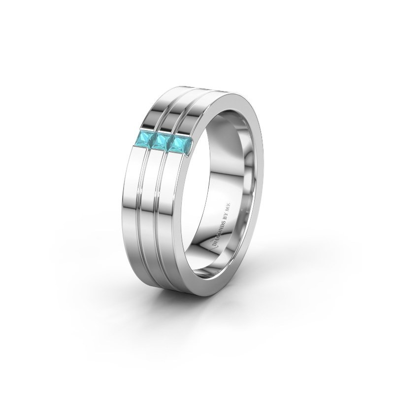 Wedding ring WH0428L16BP 925 silver blue topaz ±6x2 mm