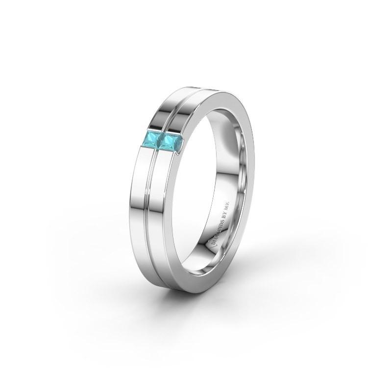 Trouwring WH0225L14B 925 zilver blauw topaas ±4x2 mm