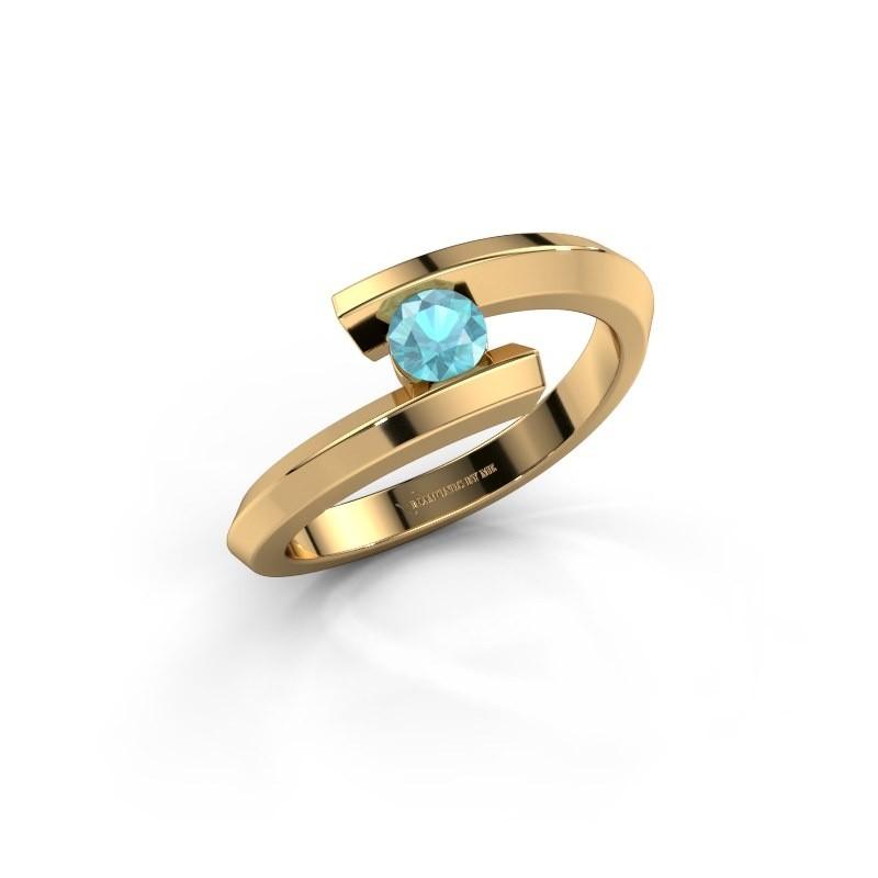 Ring Paulette 585 goud blauw topaas 3.4 mm
