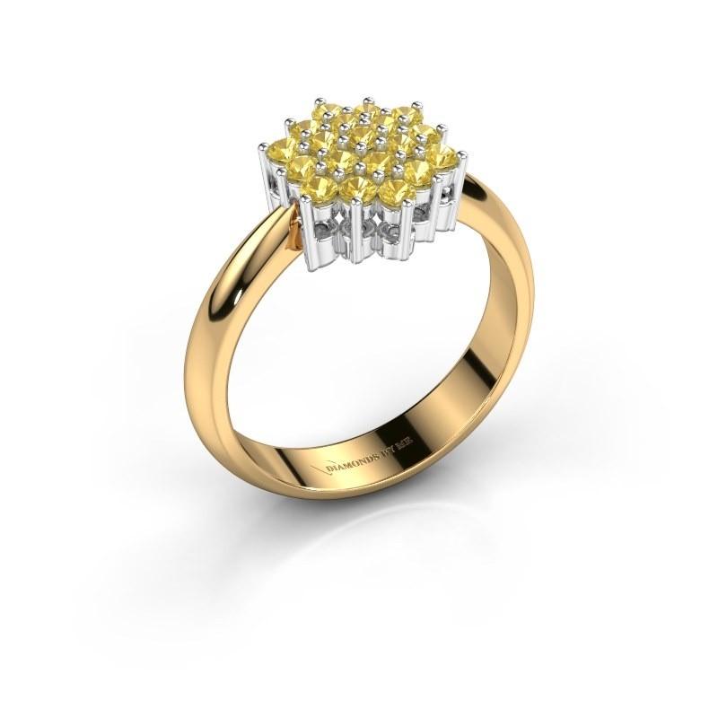 Ring Bente 585 goud gele saffier 1.9 mm