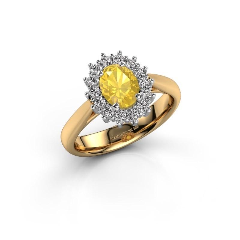 Verlobungsring Margien 1 585 Gold Gelb Saphir 7x5 mm