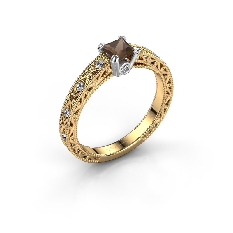 Engagement ring Ardella 585 gold smokey quartz 4 mm