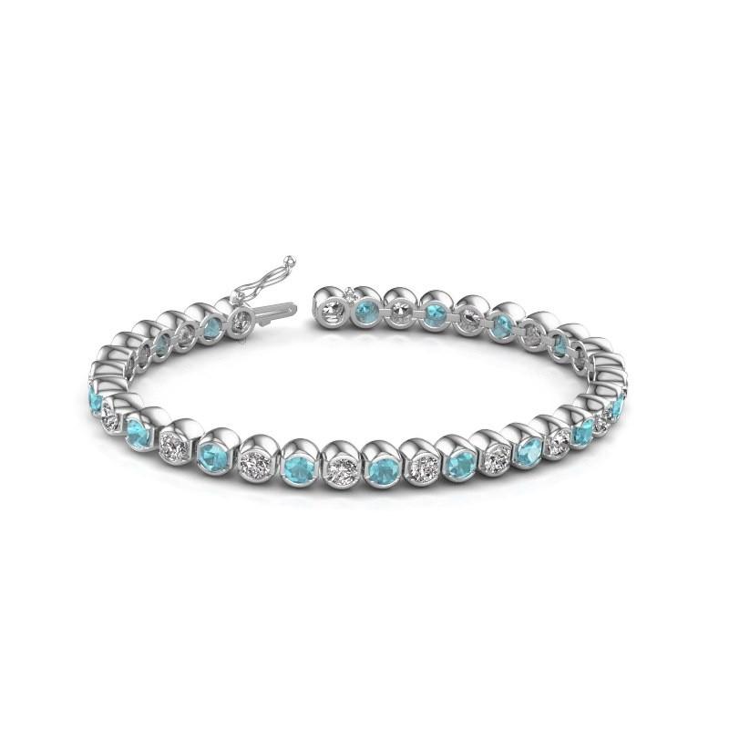 Tennis bracelet Bianca 585 white gold blue topaz 4 mm