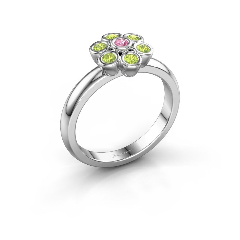 Ring Aaliyah 585 witgoud roze saffier 2 mm