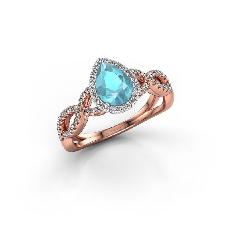 Verlovingsring Dionne pear 585 rosé goud blauw topaas 7x5 mm