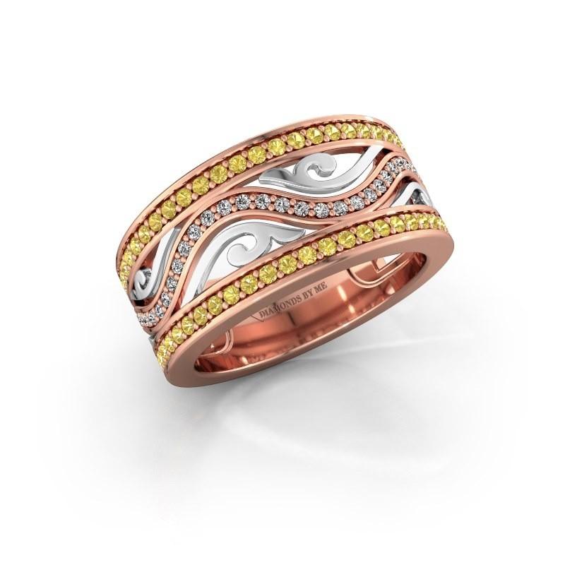 Ring Louvenia 585 rosé goud gele saffier 1.2 mm
