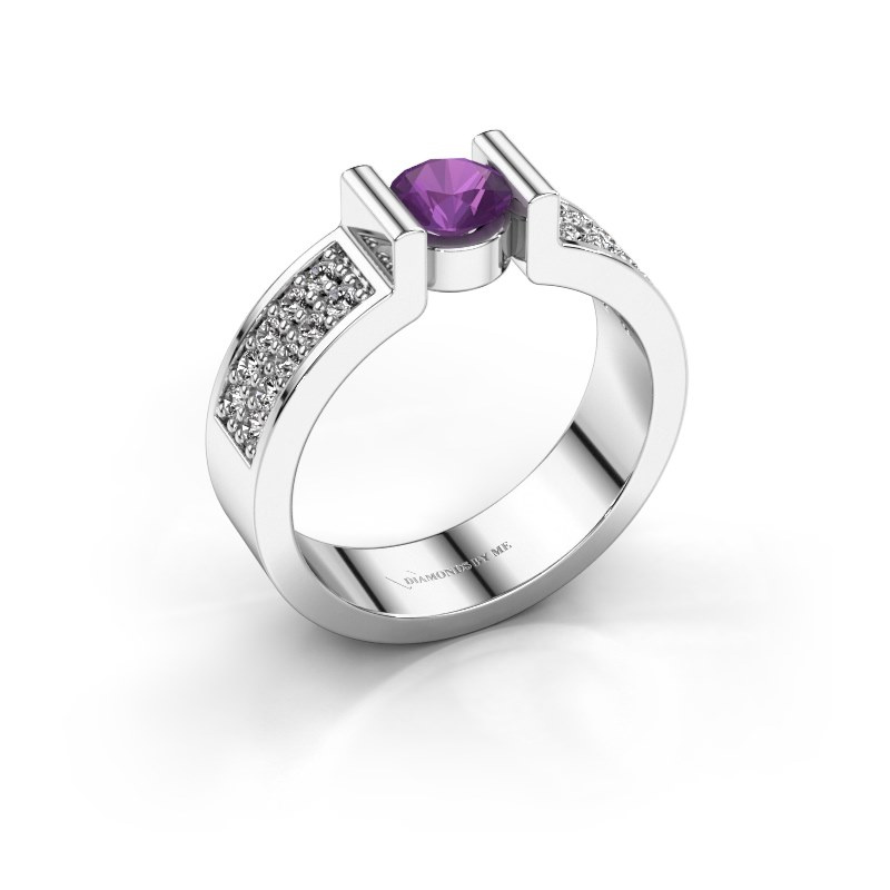 Engagement ring Isabel 3 925 silver amethyst 5 mm
