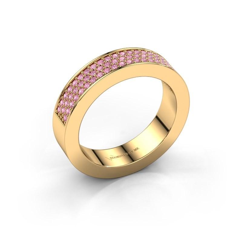 Ring Lindsey 2 375 goud roze saffier 1.1 mm
