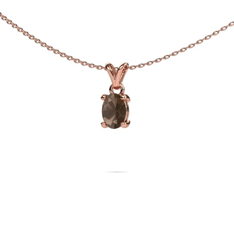 Ketting Lucy 1 375 rosé goud rookkwarts 7x5 mm