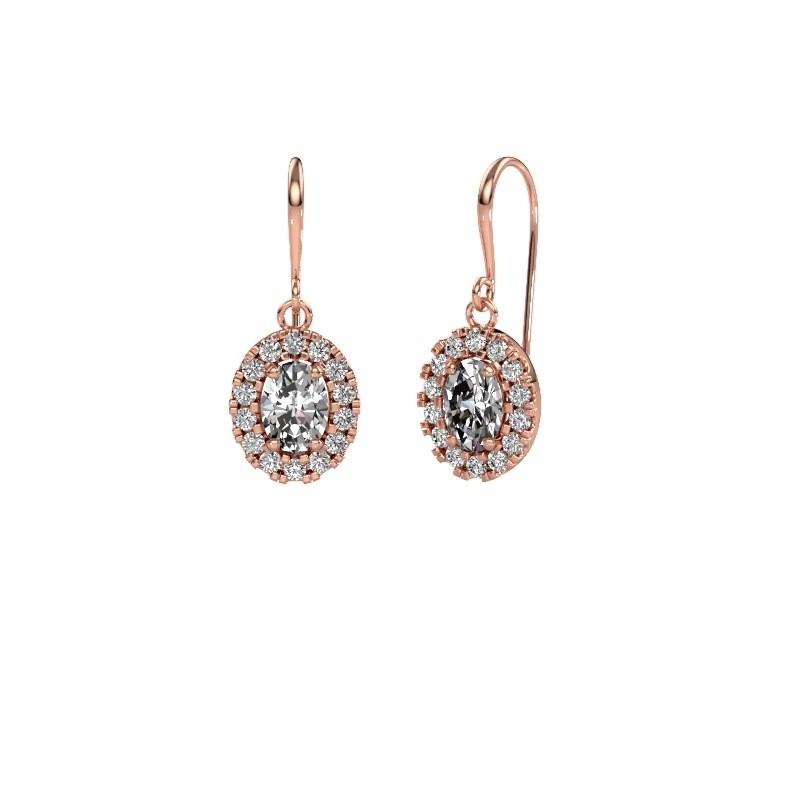 Drop earrings Jorinda 1 375 rose gold zirconia 7x5 mm