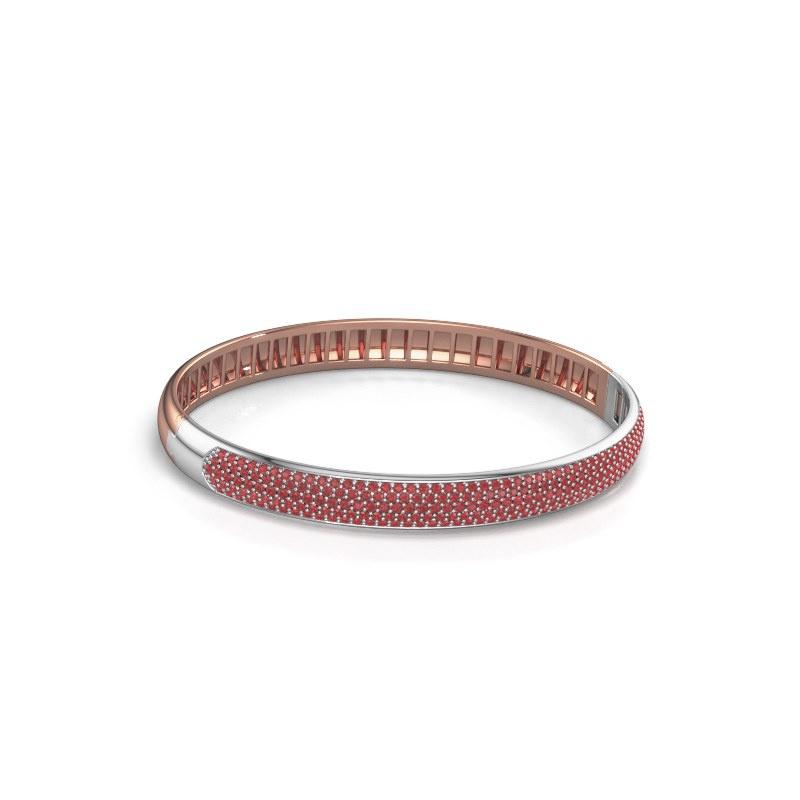 Slavenarmband Emely 7mm 585 rosé goud robijn 1.2 mm