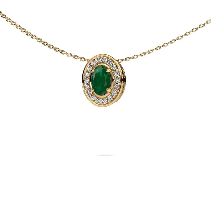 Ketting Madelon 375 goud smaragd 6x4 mm