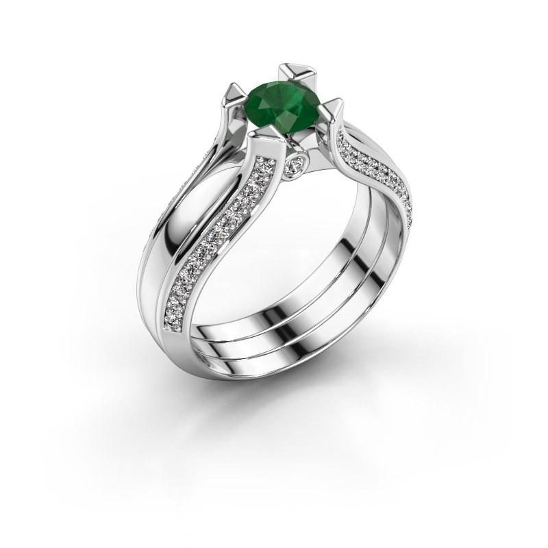 Verlovingsring Nadine 585 witgoud smaragd 5 mm