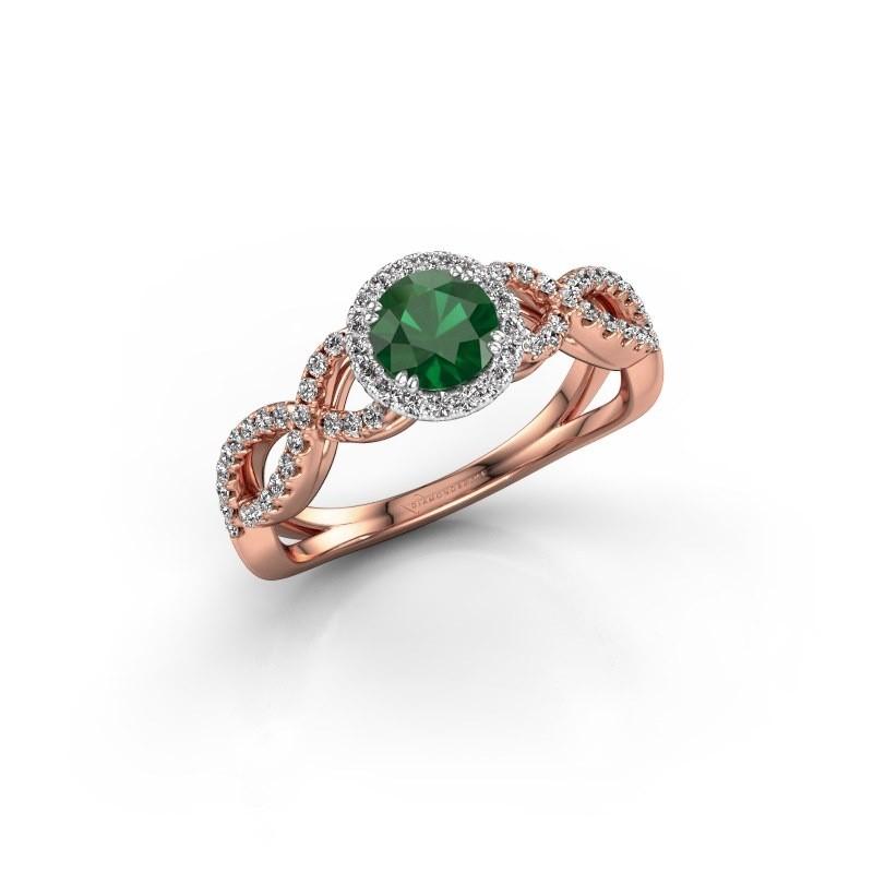 Verlovingsring Dionne rnd 585 rosé goud smaragd 5 mm