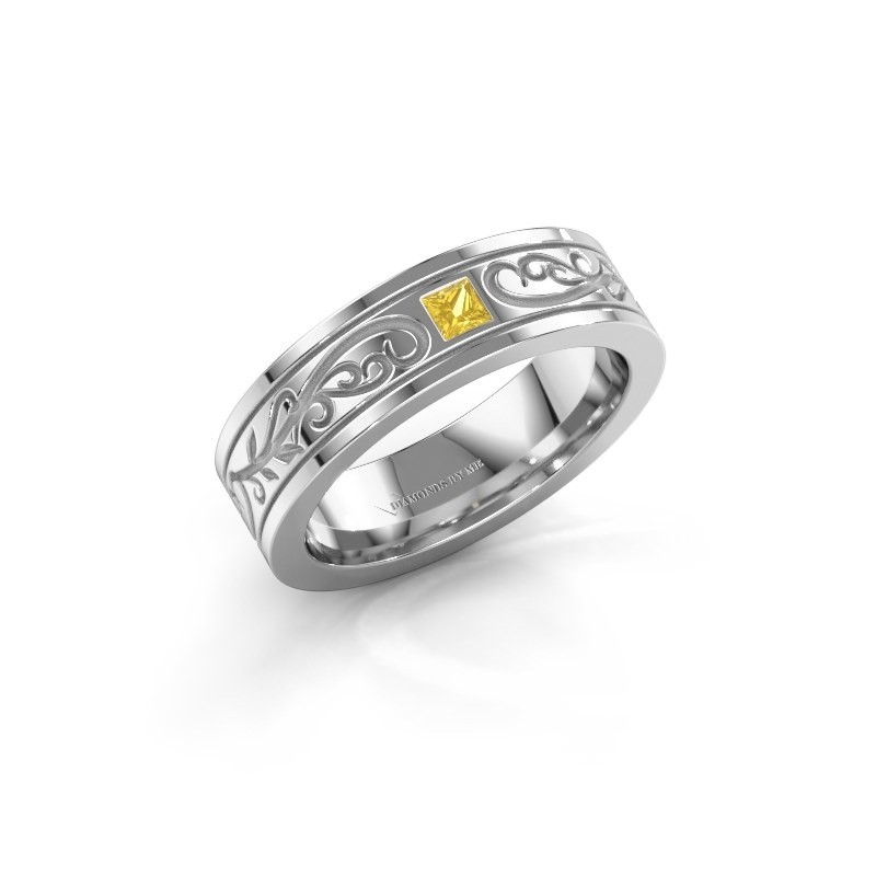 Men's ring Matijs 585 white gold yellow sapphire 3 mm