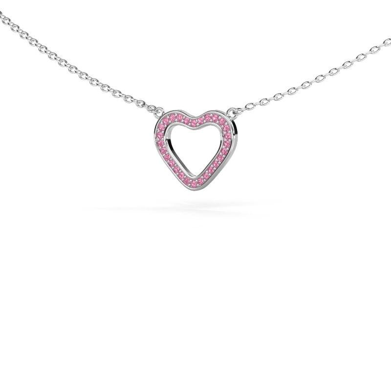 Hanger Heart 3 585 witgoud roze saffier 0.8 mm