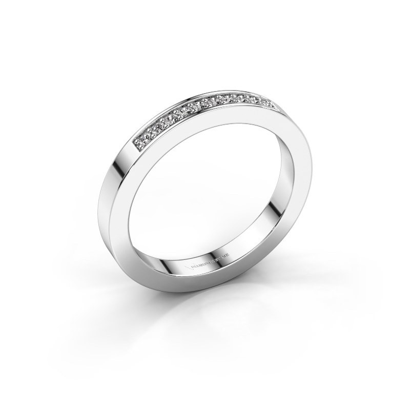 Stackable ring Loes 3 375 white gold zirconia 1.3 mm