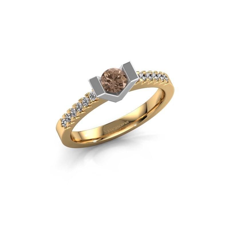 Verlovingsring Sherley 2 585 goud bruine diamant 0.43 crt