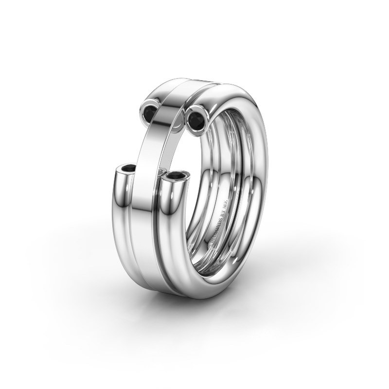 Wedding ring WH6018L 925 silver black diamond ±0.31x0.12in
