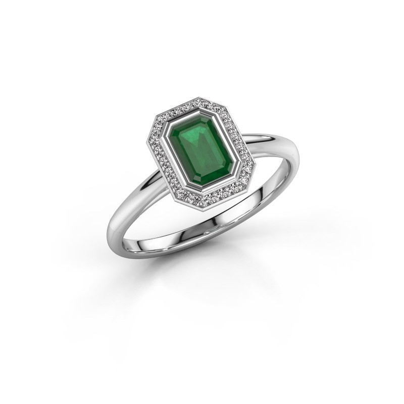Verlovingsring Noud 1 EME 585 witgoud smaragd 6x4 mm
