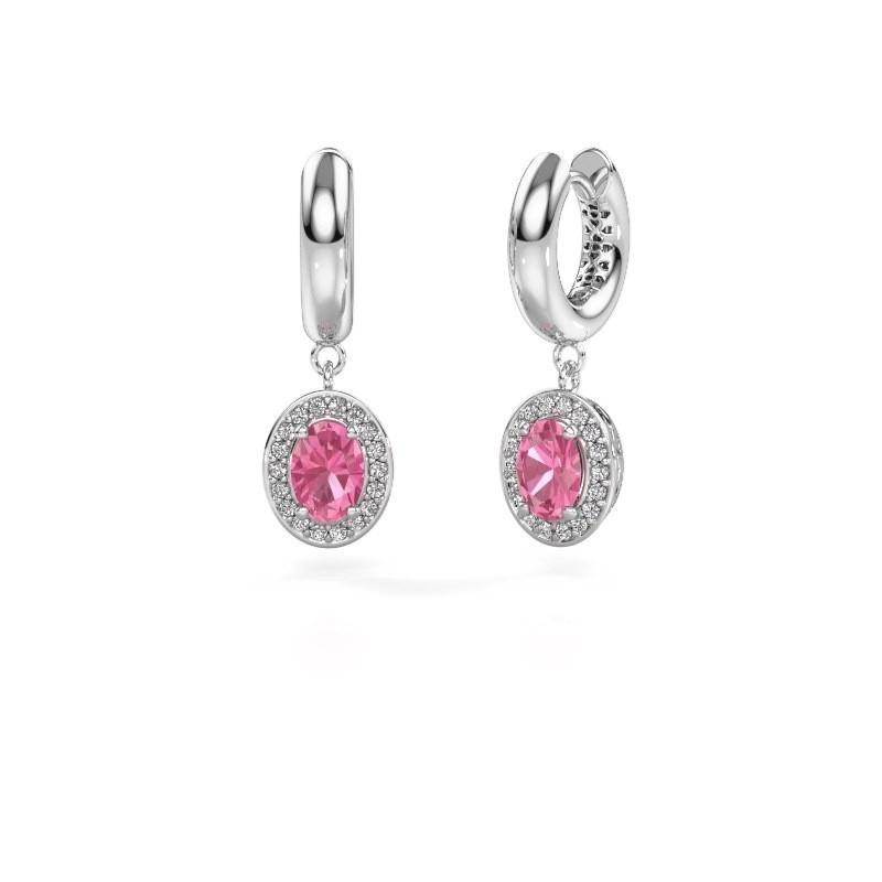 Drop earrings Annett 950 platinum pink sapphire 7x5 mm